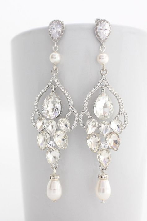 Long Bridal Chandelier Earrings, Bridal Chandelier Earrings With Pearls