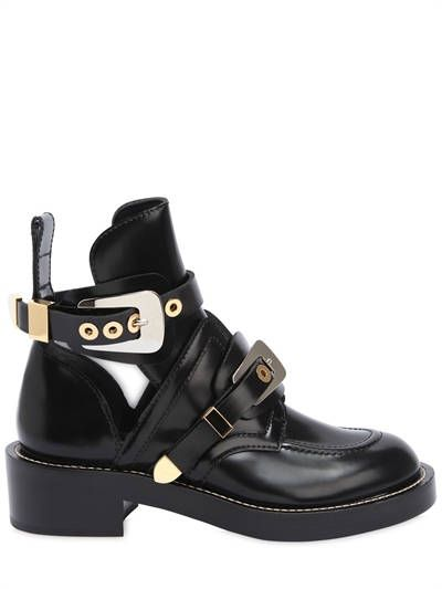 BALENCIAGA, 40mm clipper brushed leather boots, Black