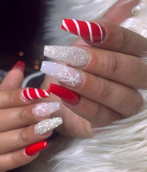 50+ Surprisingly Cute Christmas Nail Art Designs | Red acrylic coffin nails with stripes, glitter and snowflakes | Xmas Nail Art Ideas #nailart #naildesigns #nailartdesigns #christmas #xmas