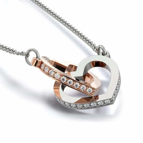 Interlocking heart christian necklace reads: ''She is clothed with strength and dignity, and she laughs without fear of the future Proverbs 31:25'' Personalize with any name. A perfect gift for your your loved one