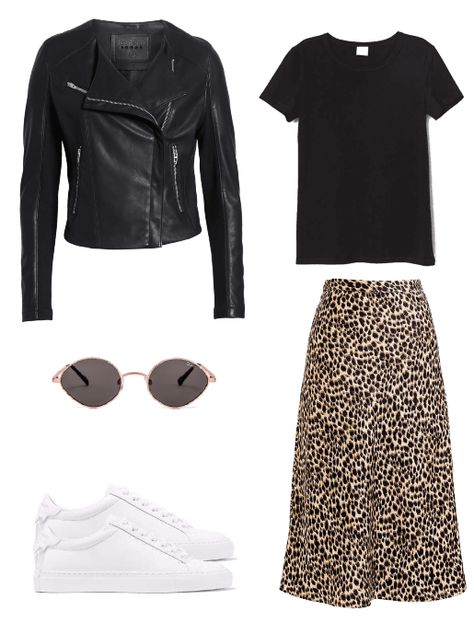 Cute shoes that go with everything in your wardrobe #whitesneakersoutfit #leopardprintskirt