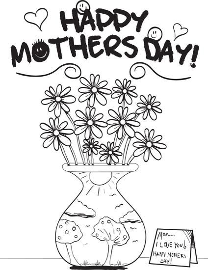Mother S Day Flowers Coloring Page 1 Mothers Day Coloring Pages