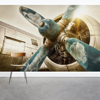 Wallums Wall Decor Vintage Airplane Propeller 8 X 144 3 Piece Wall Mural In 2020 Wall Murals Print Pictures Unframed Prints