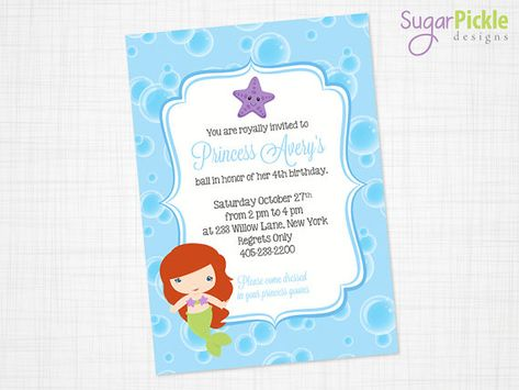 Little Mermaid Invitation Birthday Princess Ariel Party