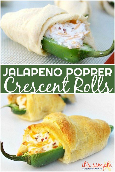 Jalapeno popper crescent rolls are great as an appetizer for a party, game day, . Jalapeno popper crescent rolls are great as an appetizer for a party, game day, or just a simple sn Yummy Appetizers, Appetizer Recipes, Dinner Recipes, Appetizer Party, Croissant, Jalapeno Poppers Crescent Rolls, Jalapeno Recipes, Bacon Recipes, Recipes With Jalapenos