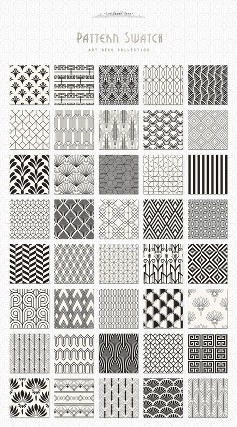 Architectural Drawing Patterns Art Deco Seamless Patterns Bundle by The Paper Town on