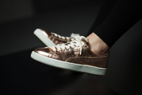 Femme chaussures sneakers Puma Basket Metallic 362057 01