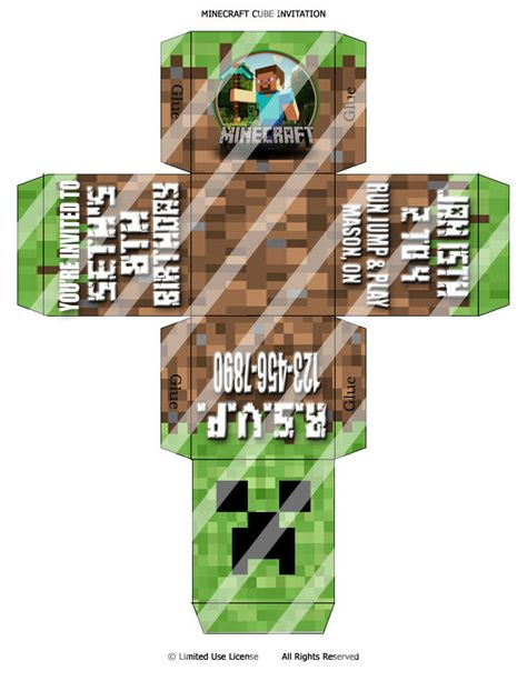 CUSTOM Printable Minecraft Inspired 3D Cube Invitation Print As Many You Need One Of A Kind Party Invite Card