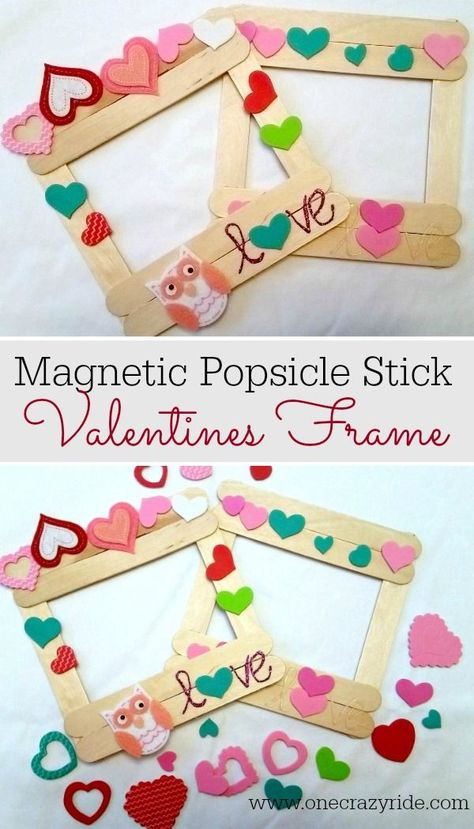 A simple DIY project for your little one, a popsicle stick valentine frame! Bonu… A simple DIY project for your little one, a popsicle stick valentine frame! Bonus, it's magnetic. Who couldn't use more cute art on their fridge? Valentines Frames, Kinder Valentines, Valentine Crafts For Kids, Valentines Day Activities, Valentines Diy, Holiday Crafts, Holiday Ideas, Saint Valentine, Valentine Decorations