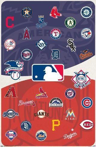Poster Mlb League Logos 15 34x22in In 2020 Mlb Team Logos Mlb Logos Major League Baseball Logo