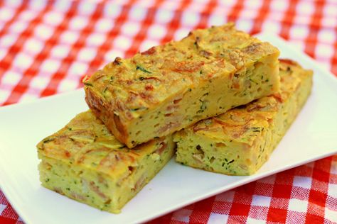 Zucchini Slice  5 beaten eggs  150g (1 cup) self-raising flour  450g zucchini (3 medium zucchini), grated  1 large onion, finely chopped  6 rashers chopped bacon  1 cup grated cheddar cheese  60g (1/4 cup) melted butter  Oven: 340°F, 45 min  Grease and line a 30 x 20cm pan