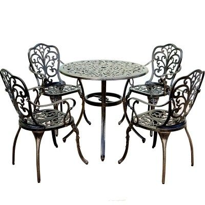 Balcony Furniture Cast Aluminum Leisure Garden Table And Chair