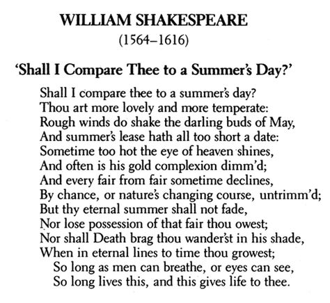 the comparison between love and a summers day in sonnet 18 by william shakespeare Start studying sonnet 18 learn comparison of the youth to a summer's day - shakespeare makes more lines of the sonnet - shakespeare immediately.