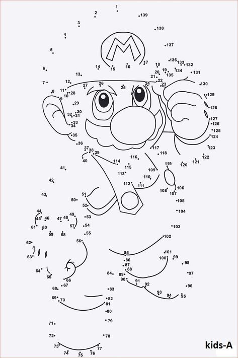Super Mario Ausmalbilder | Connect the dots | Super mario coloring ...