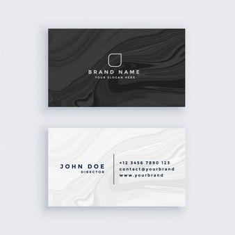 Download Black And White Modern Business Card With Marble Texture