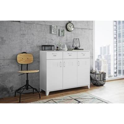FACTORY Buffet - Style industriel - Blanc - L 120 cm - moderner wohnzimmerschrank mit glastüren und led beleuchtung