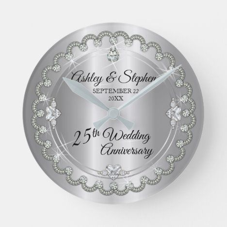 Elegant Silver Diamonds 25th Wedding Anniversary Round Clock Zazzle Com In 2020 40th Wedding Anniversary 45th Wedding Anniversary Gifts 2nd Wedding Anniversary