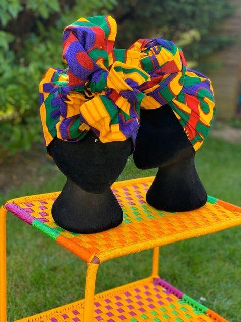 Yellow multi head wrap, African head scarf, primary colours, African headwrap, African head tie, ank #headscarfstyles Yellow multi head wrap, African head scarf, primary colours, African headwrap, African head tie, ank