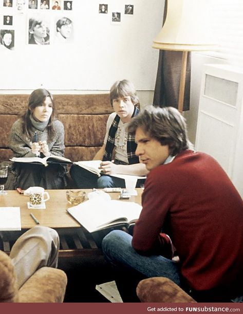 Carrie Fisher, Mark Hamill, and Harrison Ford going over the script for The Empire - FunSubstance