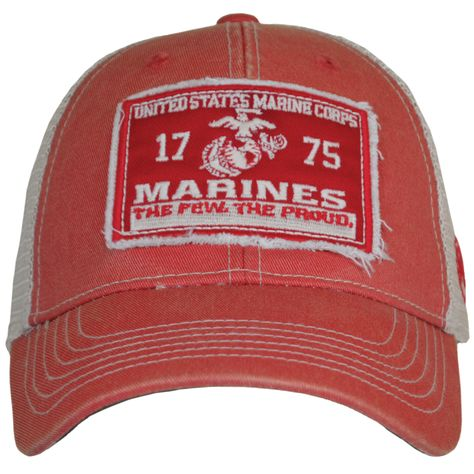 """Cover your grape with vintage USMC pride while wearing this Marines Vintage Mesh Cover/Hat. Order Now! Features: Made of 100% cotton front panels and 100% polyester mesh side and back panels. Medium profile. One size fits most. Snap back closure. Faded front displays an applique patch with the embroidered text """"United States Marine Corps, 1775, Marines, The Few. The Proud."""" and an Eagle, Globe, and Anchor. #SgtGrit #Marines"""