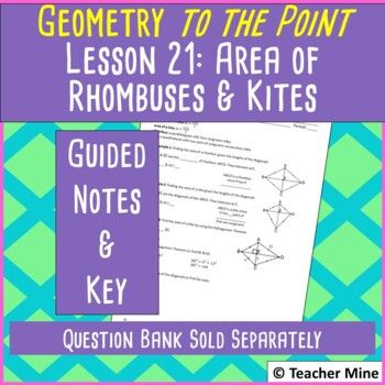 Geometry To The Point Lesson 21 Notes Area Of Rhombuses Kites Lesson Guided Notes Contents Cover