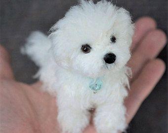 Nadel Gefilzt Malteser Hund Wolle Maltipoo Welpen Filz Tier Benutzerdefinierte Hund Portrait Skulptur Miniatur Stru Custom Pet Portraits Felt Animals Pets