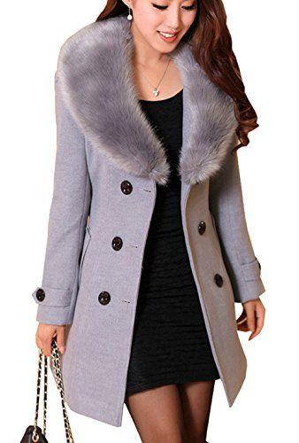 Damen Warm Wintermantel Dufflecoat Frauen Outwear Lange Übergangsmantel Jacken