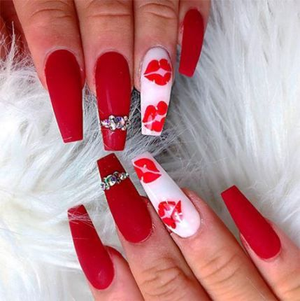 Nails Acrylic Coffin Long Letter 33 Ideas Nail Designs Valentines Valentine Nail Art Coffin Nails Designs