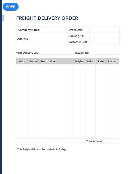 Free Freight Delivery Order Template Design Delivery