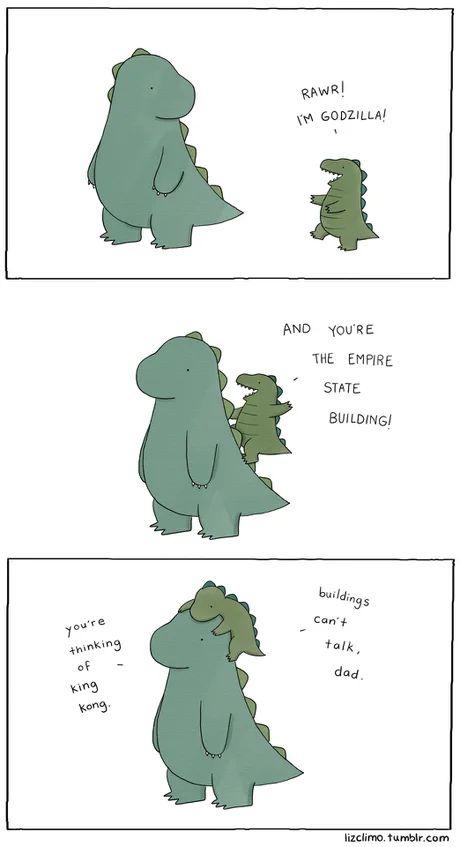 Cute Lil Godzilla In 2021 Dinosaur Pictures Rawr Memes