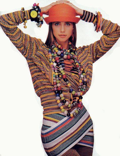 Roberta Chirko in Missoni. Photo by Oliviero Toscani, Elle US 1989