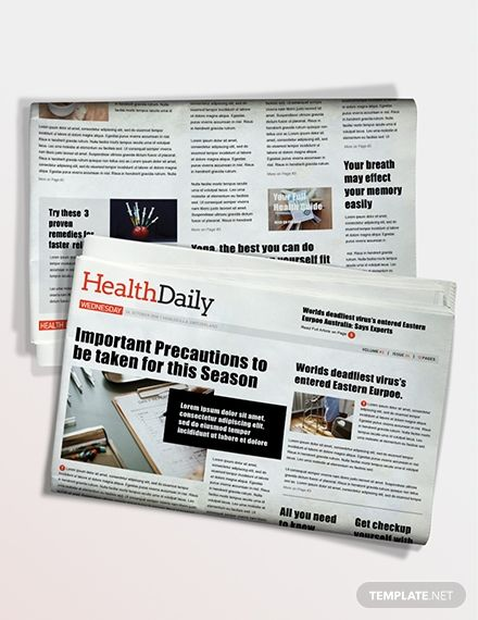 Health Newspaper Template Word Psd Apple Pages Publisher Newspaper Template Word Newspaper Template Templates