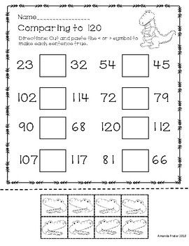 Comparing Numbers To 120 Greater Than Less Than And Equal Alligators Comparing Numbers Numbers To 120 First Grade First Grade Math Worksheets