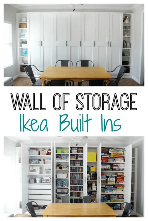IKEA Built-ins for Storage: Create a wall of built-ins to maximize space! Create a wall of custom bookcases my customizing wardrobes and bookcases for a beautiful wall of IKEA built-ins. Its perfect for maximizing storage in a den, office, or bedroom. Basement Storage, Craft Room Storage, Built In Storage, Ikea Living Room Storage, Ikea Office Storage, Ikea Craft Room, Diy Storage Wall, Ikea Storage Cabinets, Tv Cabinets
