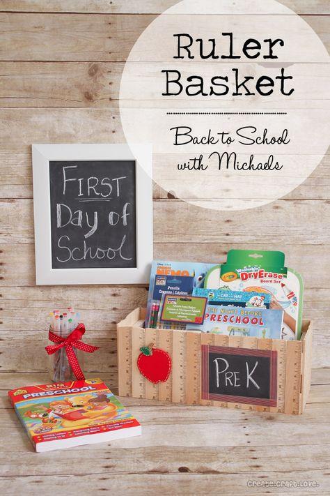 Ruler Basket   Back to School with Michaels via createcraftlove.com #michaelsbts #backtoschool #rulerbasket #giftideas