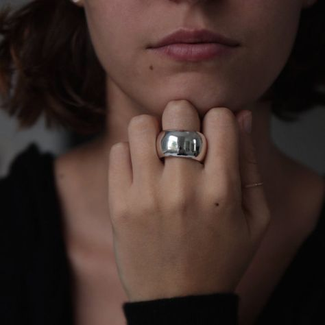STATEMENT RING Large Sterling Silver Chunky Ring Solid silver chunky ring is deliciously smooth, weighty and polished to perfection. THE DETAILS • Style EARTH • Avail in Small, Medium, or Large (you will need a full size larger in this ring to allow for the width and thickness) • .925