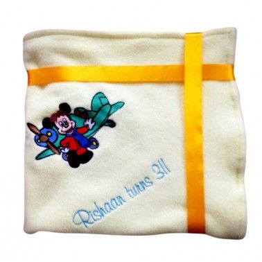 Mickey & Plane Personalized Kids Blanket