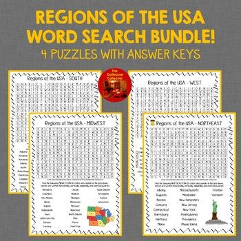 US Regions States & Capitals Word Search Bundle! 4 Puzzles ...
