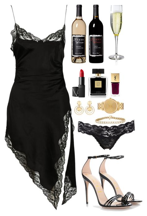 """- Night In"""" by parisienne-amelie ❤ liked o Dinner Outfits, Dressy Outfits, Night Outfits, Sexy Outfits, Chic Outfits, Fashion Outfits, Womens Fashion, Dress Casual, Spring Outfits"""