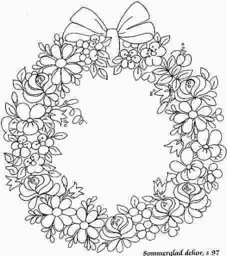 Flower Wreath Coloring Page Flower Coloring Pages Coloring Pages Embroidery Patterns