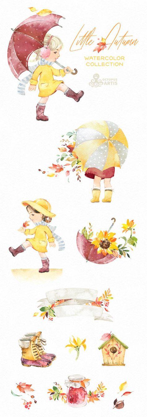 Little Autumn. Watercolor clipart, cute girl, Fall, flowers, outdoor, walk, umbrella, kids, nursery,