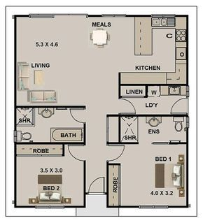 2 Bedroom House Plan 968 Sq Feet Or 90 M2 2 Small Home Design