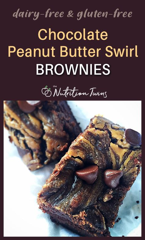 Chocolate Peanut Butter Swirl Brownie | Gluten-Free-Dairy-Free Easy, Healthy Dessert Recipe Using Black Beans | Fiber  Protein Together to Keep you Feeling Full without Sugar Highs and Lows |Great Indulgence that Won't Ruin Your Flat Belly Workout Efforts | Only 140 Calories | for MORE RECIPES, fitness and nutrition tips, please sign up for our FREE NEWSLETTER www.nutritiontwins.com