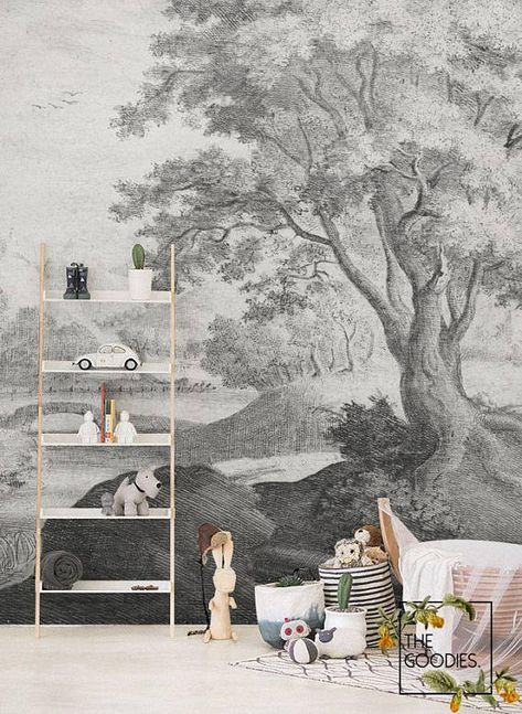 Nature Scenic Wallpaper Removable Wall Mural Vintage Illustration Wallpaper Landscape Mural Peel And Stick Wall Covering Black White 5 Scenic Wallpaper Removable Wall Murals Wallpaper Accent Wall