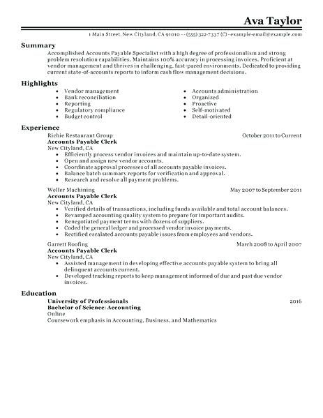 A P Accounts Payable Resume Examples Sample Resume