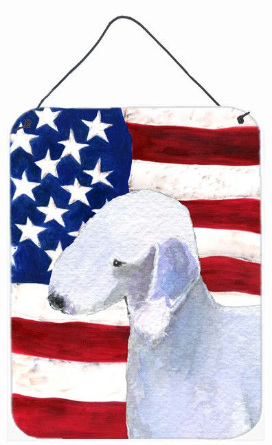 USA American Flag With Bedlington Terrier Wall Or Door Hanging Prints