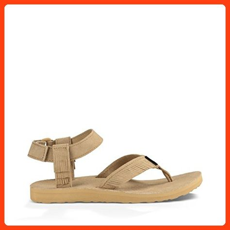 Teva Women's W Original Leather Fringe Sandal, Brown, 7 M US