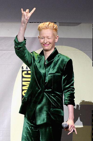 Actress Tilda Swinton attends the Marvel Studios presentation during Comic-Con.