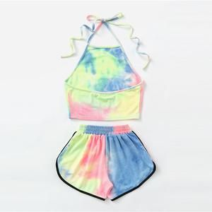Halter Neck Water Color Crop Top With Ringer Shorts Colorful