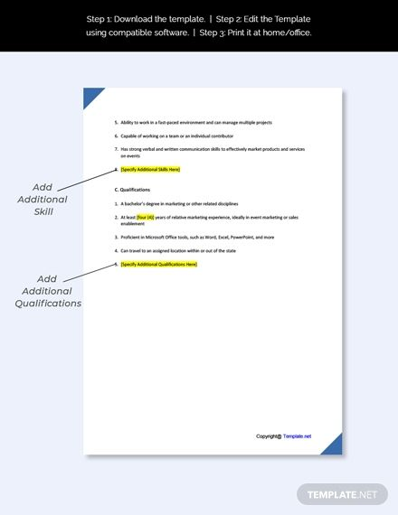 Simple Job Description Template Pdf For Download And Print Job